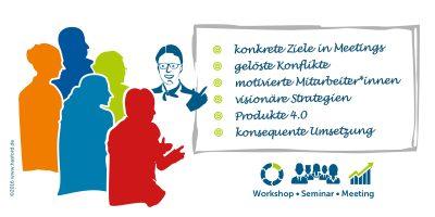 Ralf Hasford bietet in seinen Moderationen konkrete Ziele in Meetings, gelöste Konflikte, motivierte Mitarbeiter*innen, visionäre Strategien, digitale Geschäftsmodelle, Produkte 4.0, konsequente Umsetzung