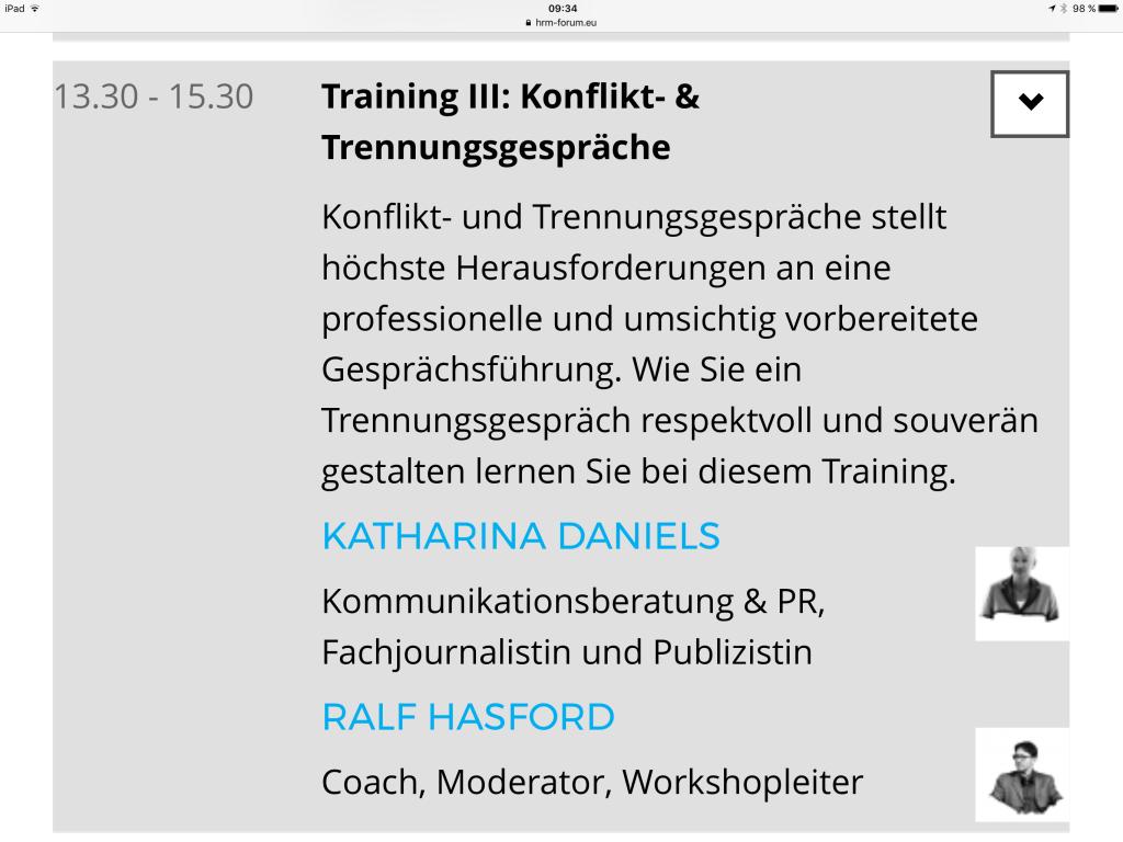 Workshop Konfliktgespräche und Trennungsgespräche