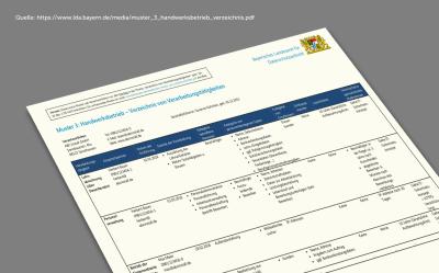Muster für Handwerksbetriebe: Verzeichnis der Verarbeitungstätigkeiten