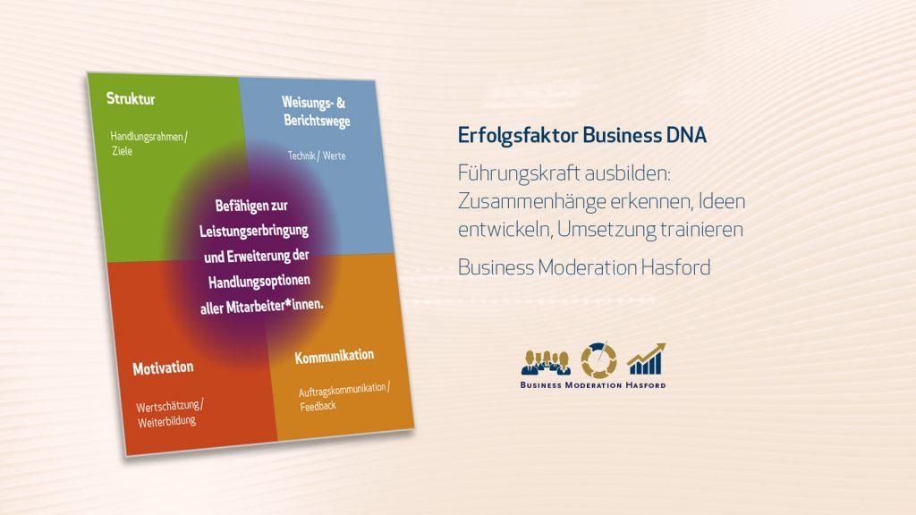 Erfolgsfaktor Business DNA: Führungskraft ausbilden: Zusammenhänge erkennen, Ideen entwickeln, Umsetzung trainieren Business Moderation Hasford