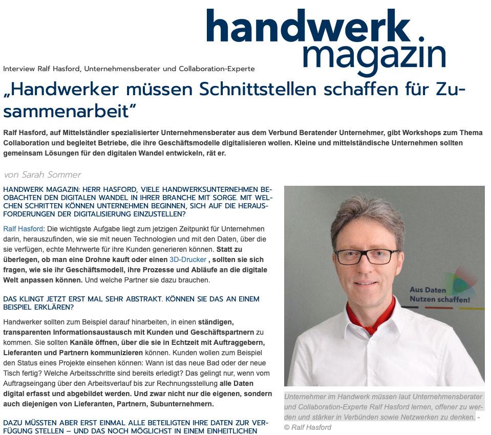 Moderator und Profi für Collaboration Hasford im Interview für Handwerker-Magazin