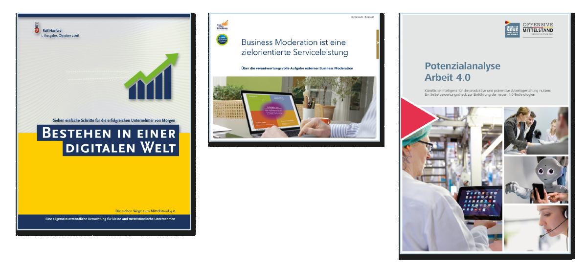 Hasford als Autor. Bestehen in einer digitalen Welt. (2016) eBook / Paperback · 104 Seiten · ISBN 978-3-946473-99-2 Digitaler Wandel im Mittelstand: Sieben einfache Schritte für die erfolgreichen KMU-Unternehmer von Morgen.