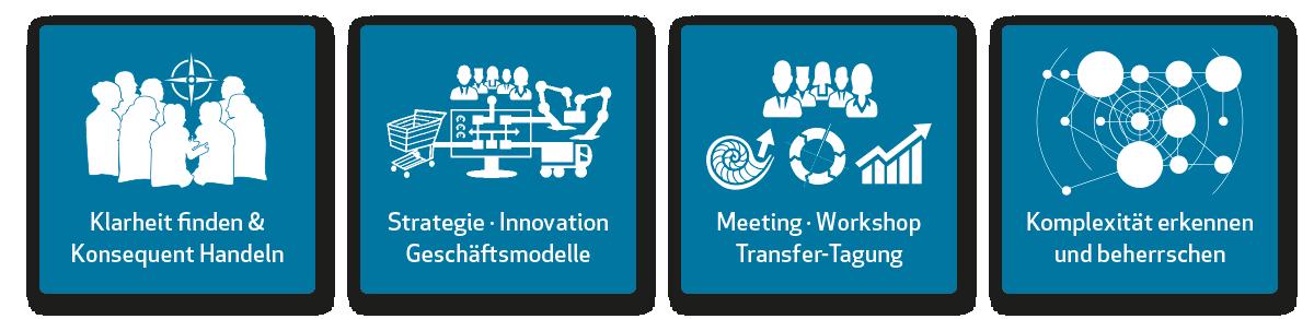 Klarheit finden, Konsequent handeln in Strategie, Innovation und Geschäftsmodell. Hasford moderiert dafür Meeting, Workshop und Transfer-Tagung. Dabei ist es Hasford wichtig, dass Konflikte gelöst, Komplexität erkannt und beherrschbar wird.