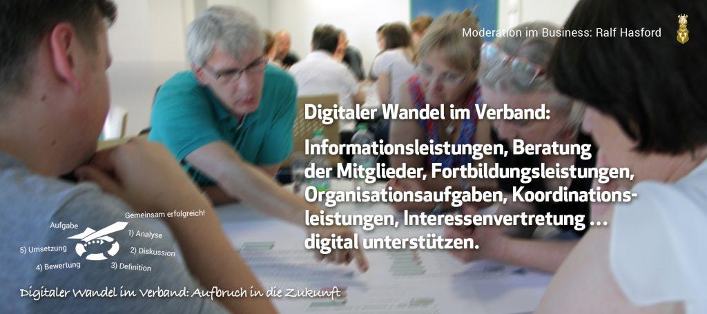 Digitaler Wandel im Verband. Es sind Informationsleistungen, Beratung der Mitglieder, Fortbildungsleistungen, Organisationsaufgaben, Koordinationsleistungen, Interessenvertretung die die Digitalisierung im Verband bestimmen.