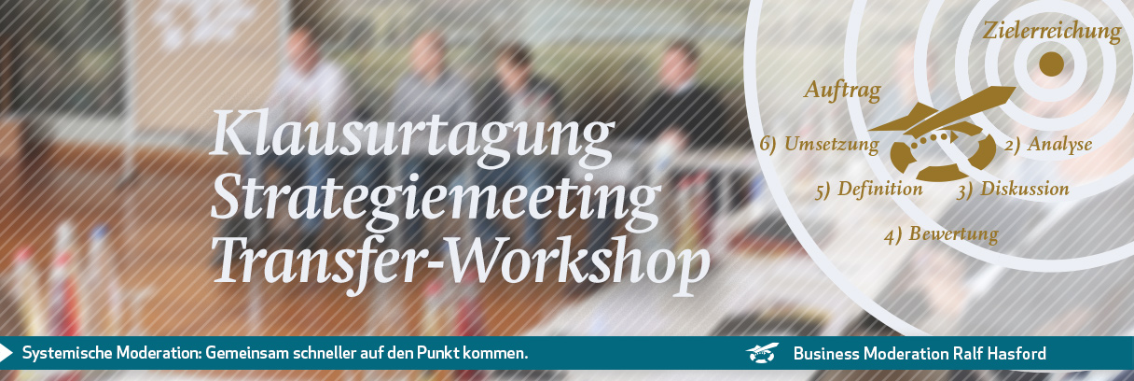 Klausur, Strategiemeeting, Strategieworkshop. Ralf Hasford als systemischer Moderator moderiert Präsenztreffen und remote online.