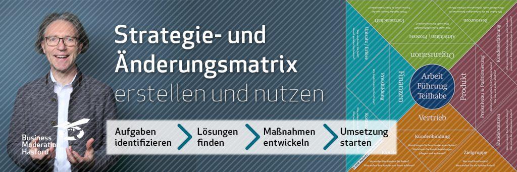 Strategie- und Änderungsmatrix erstellen und nutzen. Ralf Hasford begleitet als Moderator den Prozess eder Entwicklung.